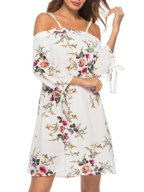 Floral Print Knotted Sleeves Cami Dress - WHITE 3XL