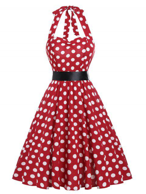 Halter Polka Dot Vintage Dress - LAVA RED 2XL