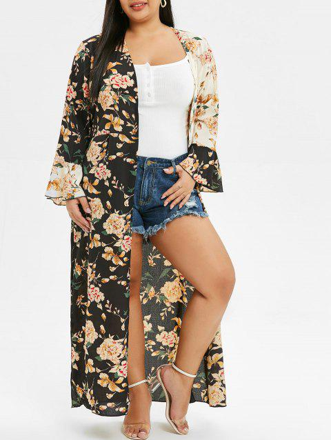 Plus Size Floral Print High Slit Maxi Cover Up - BLACK ONE SIZE