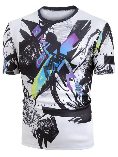 Abstract Paint Graphic Short Sleeve T Shirts - WHITE M