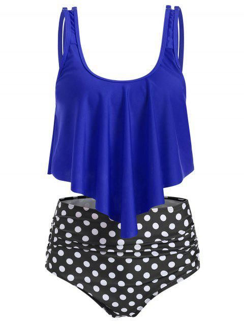 U Neck Striped Overlay Tankini Set - BLUE M