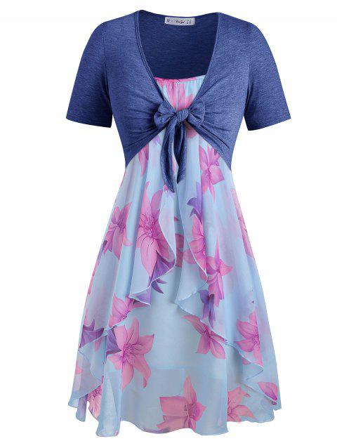 Plus Size Knot Top and Floral Chiffon Dress - LIGHT BLUE 1X