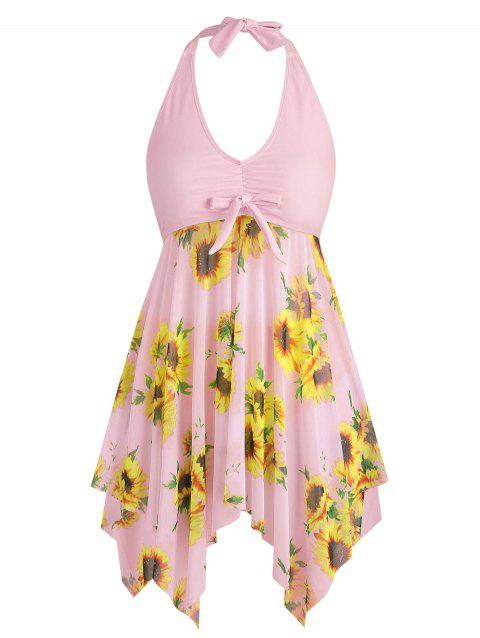 Bowknot Sunflower Floral Butterfly Plus Size Tankini Set - PIG PINK 2X
