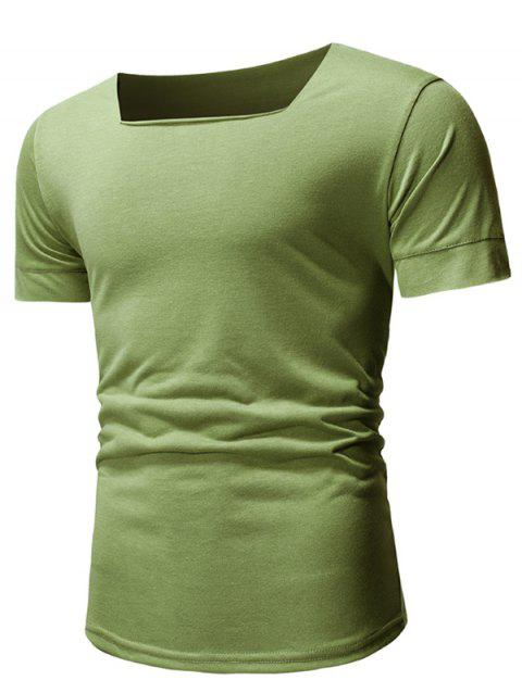 Solid Color Short Sleeves Tee - ARMY GREEN XL