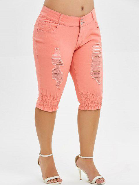 Plus Size Distressed Knee Length Jeans - ORANGE PINK 2X