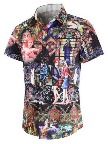 f0a357cdae7c Casual Tribal Print Short Sleeves Shirt