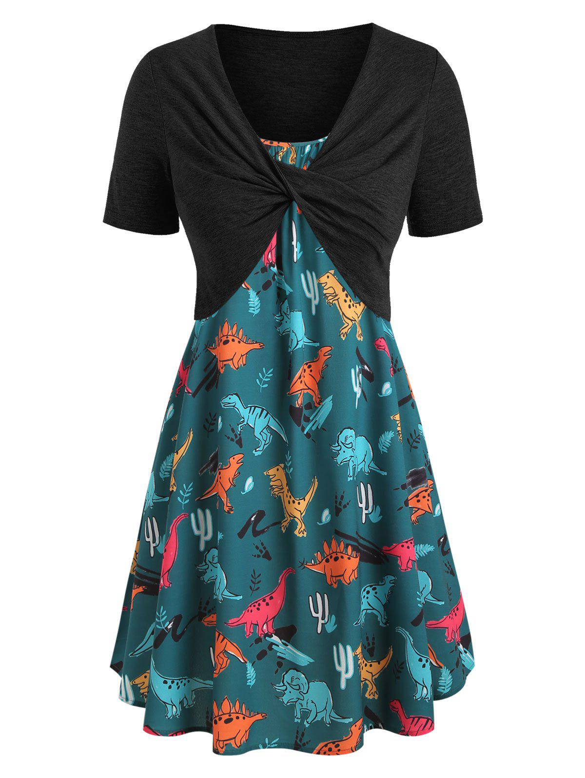 Plus Size Dinosaur Print Ruffled Dress With Twist Top - DARK GREEN L