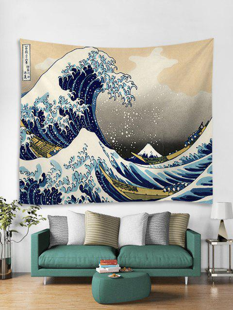 Sea Wave Printing Art Decoration Tapestry - BABY BLUE W59 X L79 INCH