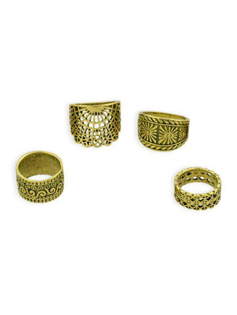 4Pcs Hollow Geometric Carved Ring Set - GOLD