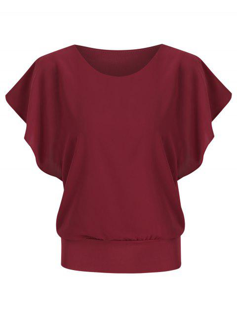 Round Neck Solid Color Chiffon Blouse - RED WINE 3XL