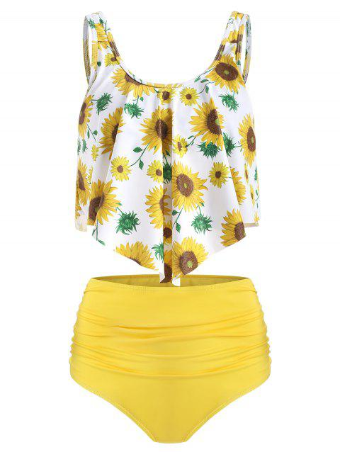 Floral Printed Overlay Tankini Set - YELLOW L
