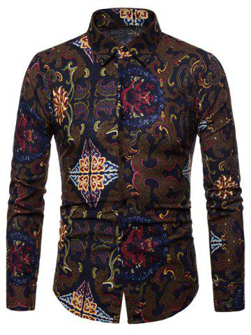 d953586b83d4 Tribal Print Long Sleeves Casual Shirt
