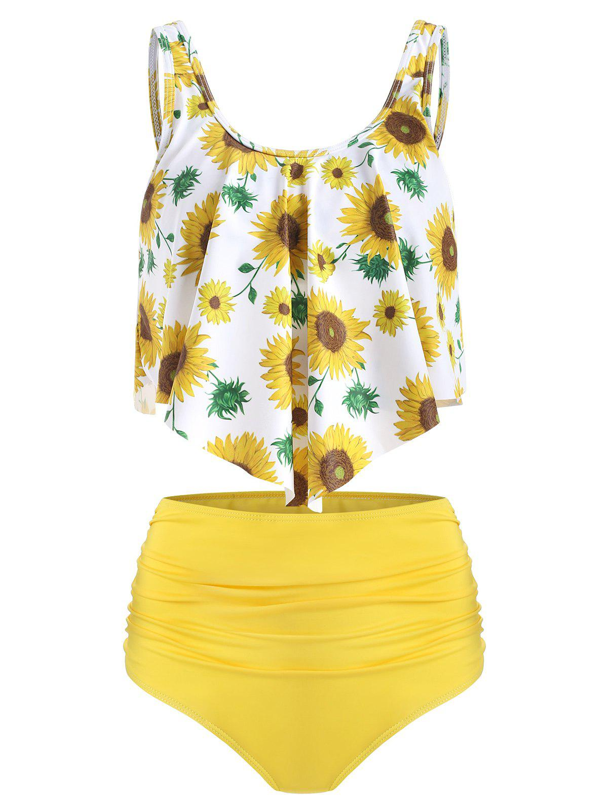 Floral Printed Overlay Tankini Set - YELLOW XL