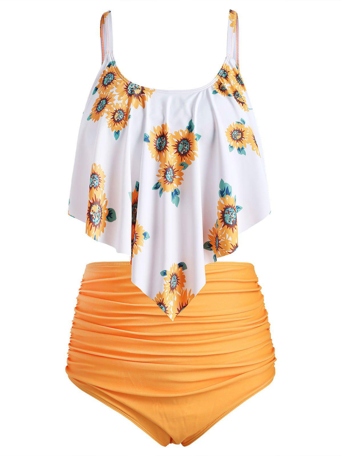 Plus Size Ruffled Sunflower Print Bikini Set - SUNRISE ORANGE 1X