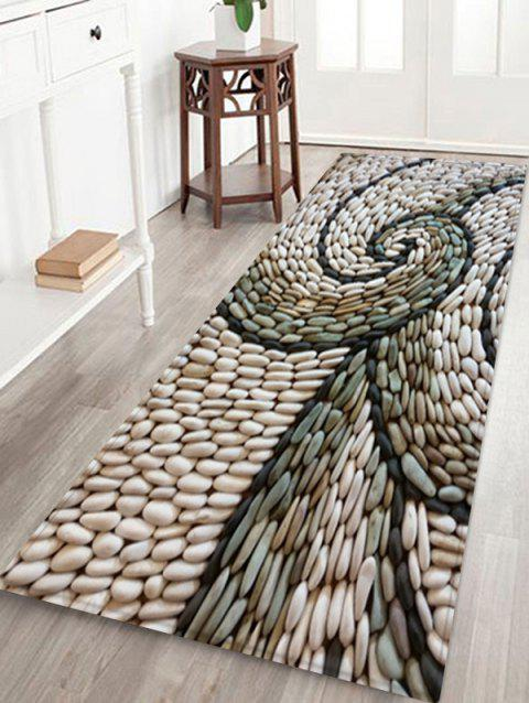 Abstract Rotating Pebbles Print Area Rug - WARM WHITE W24 X L71 INCH