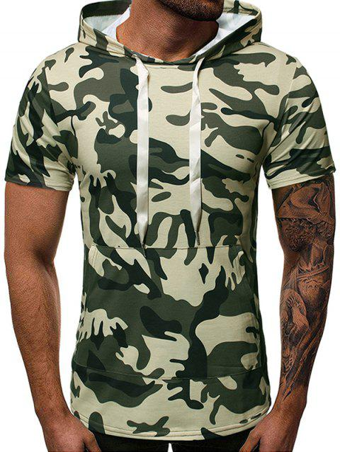 Camouflage Print Zipper Design Hooded T-shirt - ARMY GREEN S