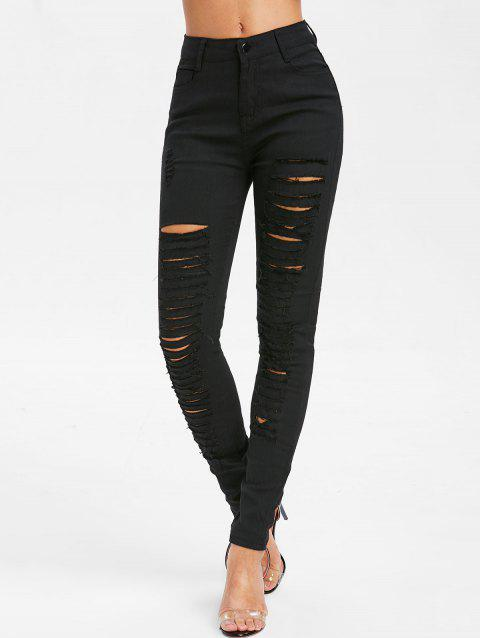 Ripped High Waisted Skinny Jeans - BLACK XL