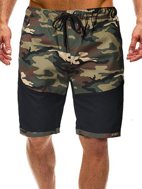 Camouflage Print Splicing Casual Shorts - BLACK L