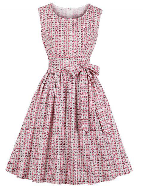 Floral Belted Fit and Flare Dress - PINK L