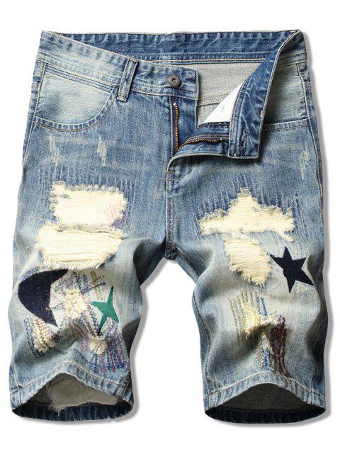 Moon Star Patchwork Ripped Jean Shorts - DENIM BLUE 32