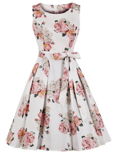 Flower Belted Vintage Fit and Flare Dress - WHITE 2XL