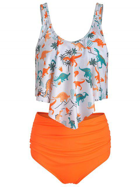 Padded Dinosaur Print Tankini Set - BASKET BALL ORANGE M