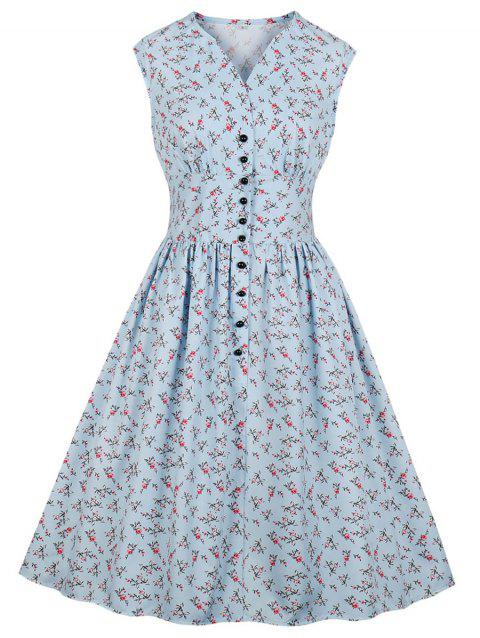Floral A Line High Rise Dress - BABY BLUE S