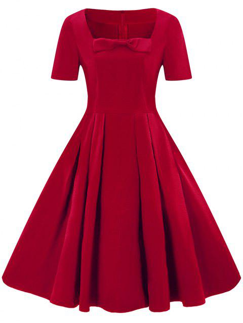 Square Neck Bowknot A Line Dress - RED WINE 3XL