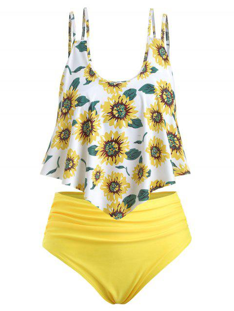 Sunflower Contrast Overlay Plus Size Tankini Set - WHITE 4X