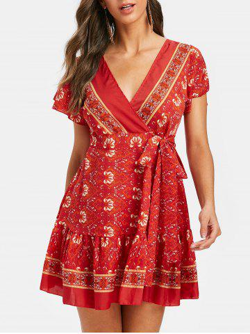 79efff2d4f4c17 Bohemian Printed Mini A Line Dress