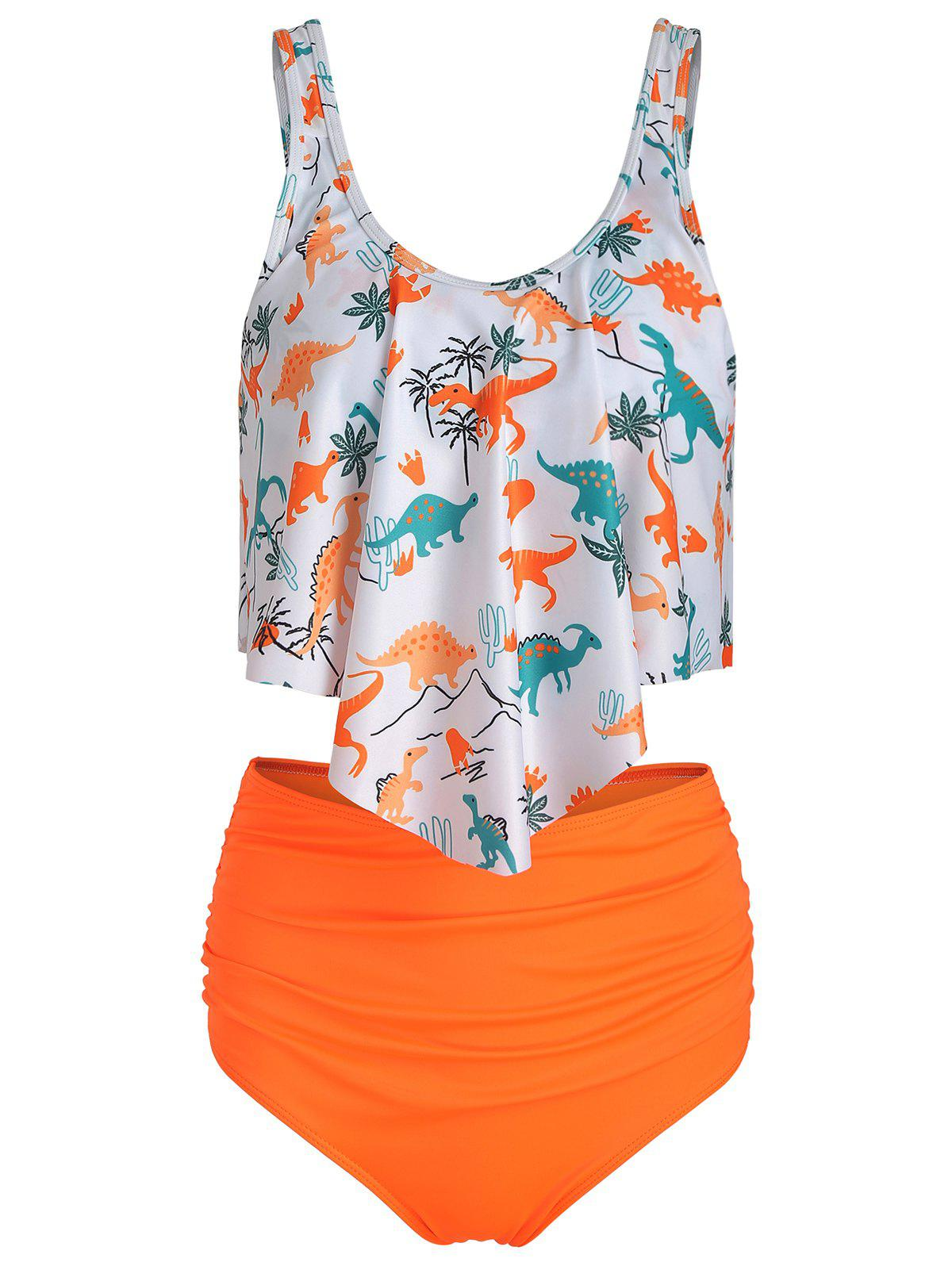 Ensemble de Tankini Rembourré Dinosaure Imprimé - Orange de Basketball 3XL