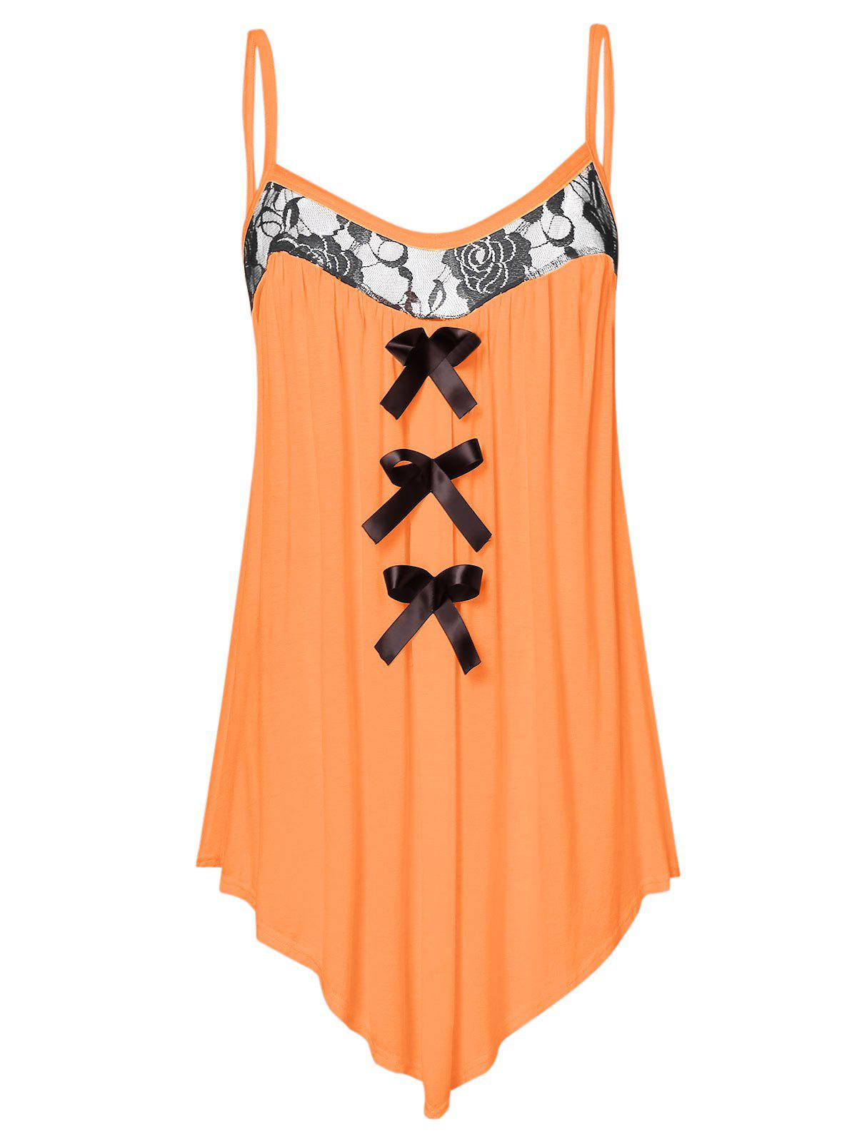 Plus Size Lace Panel Bowknot Embellished Cami Top - SANDY BROWN L