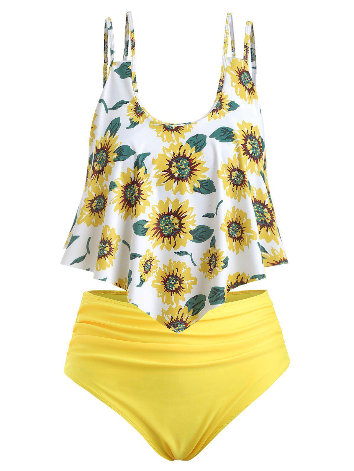 Sunflower Contrast Overlay Plus Size Tankini Set - WHITE 5X
