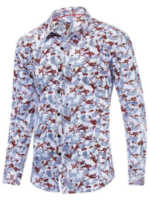 Floral Printed Leisure Long Sleeves Shirt - multicolor L