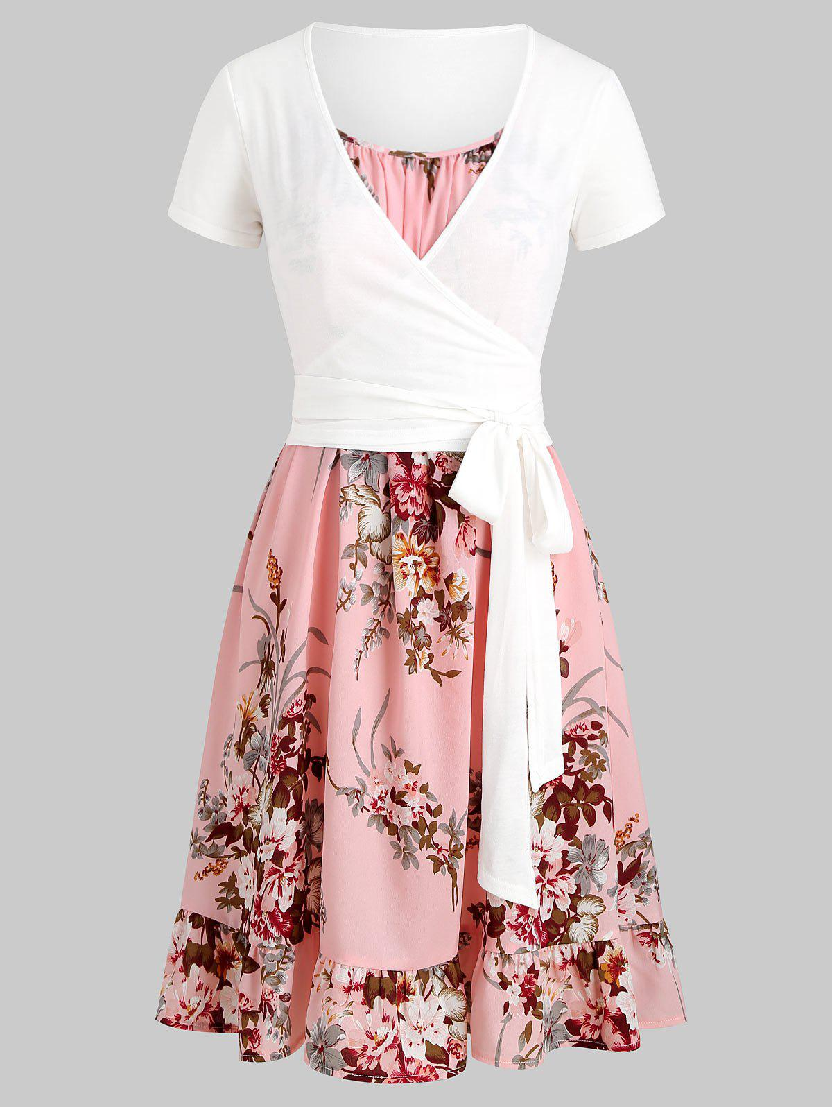 Floral Cami Flounce Dress with Wrap T-shirt - PINK L