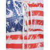 American Flag Print Lace Up T Shirt - multicolor C XL