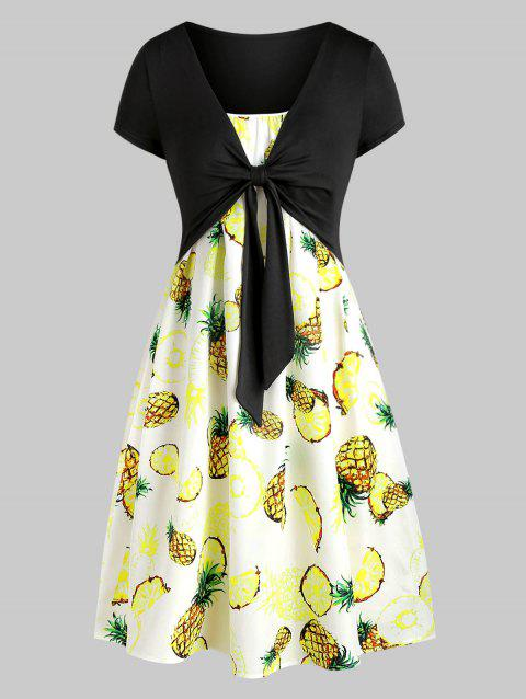 Pineapple Cami Dress with Plunging T-shirt - multicolor A XL
