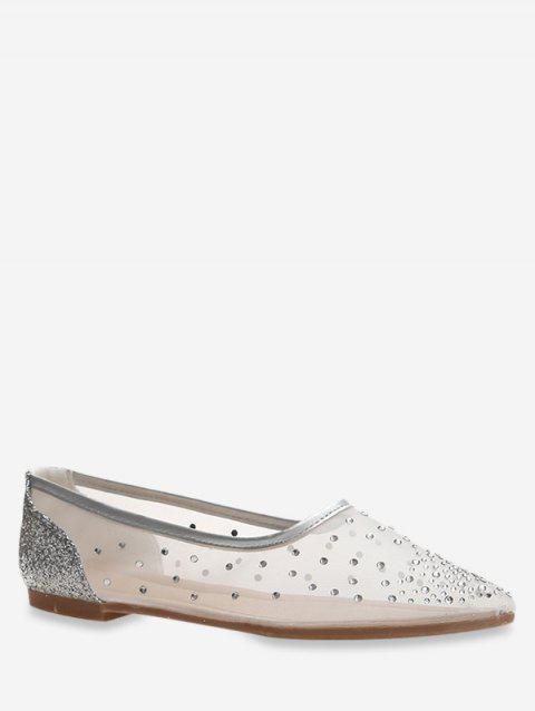 Pointed Toe Sheer Mesh Flats - SILVER EU 39