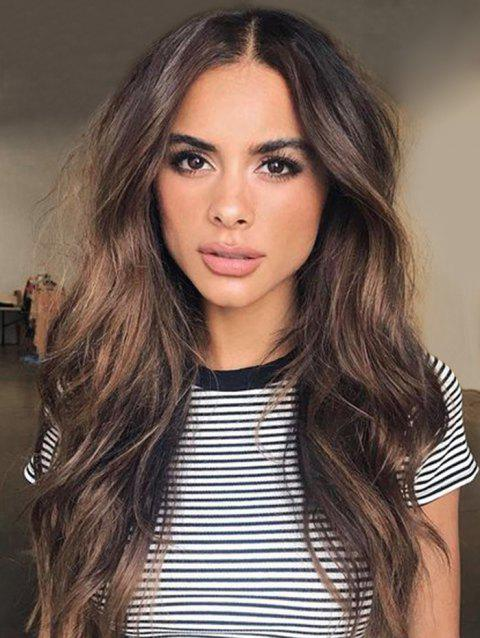 Center Part Long Body Wavy Synthetic Wig - COFFEE