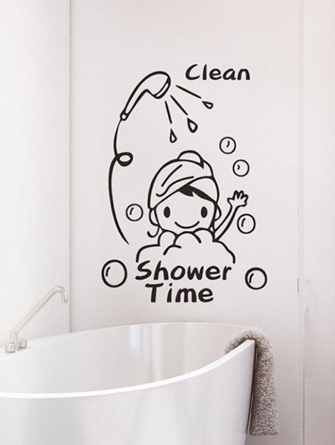 Cartoon Shower Time Print Removable Wall Art Stickers - BLACK