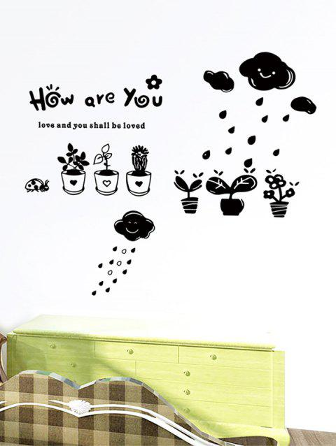 Cartoon Potted Plant Print Removable Wall Art Stickers - BLACK