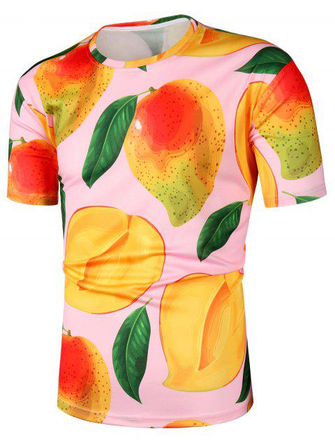 Mango Print Short Sleeve T Shirt - PINK 2XL