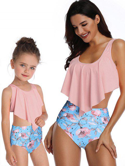 Knotted Back Floral Print Family Swimsuit - PINK MOM M