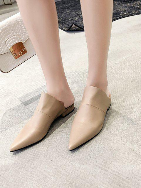 4f51a4049 41% OFF] 2019 Pointed Toe Leather Flat Heel Mules In APRICOT | DressLily
