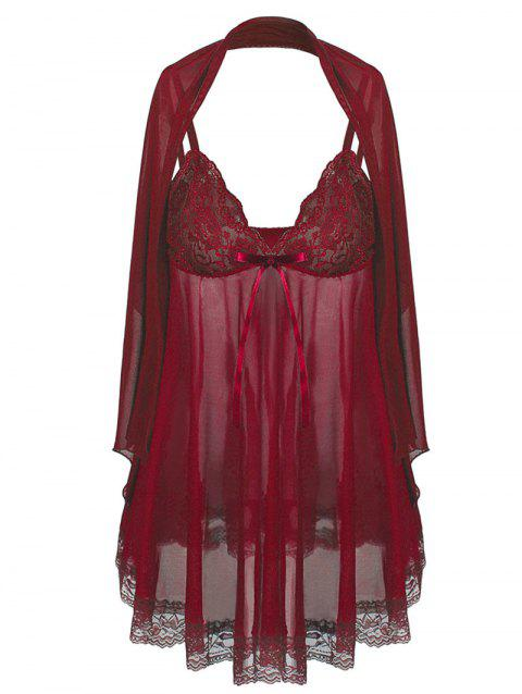 See Through Plus Size Babydoll With Scarf - RED WINE 6XL