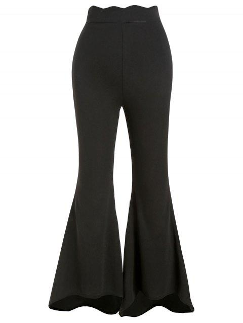 3d9226ed26848d 17% OFF] 2019 Scalloped High Waisted Boot Cut Pants In BLACK | DressLily
