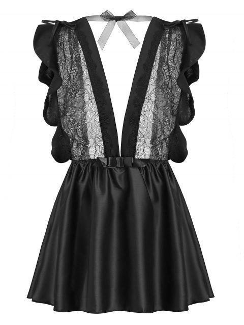 Lace Panel Bowknot Plunge Babydoll - BLACK ONE SIZE