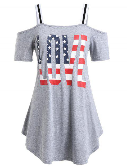 Plus Size American Flag Print Cold Shoulder T Shirt - GRAY CLOUD 5X