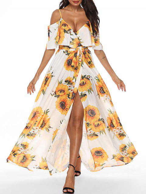 a314c9dc315 45% OFF  2019 Sunflower Cold Shoulder Slit Maxi Dress In Multicolor ...