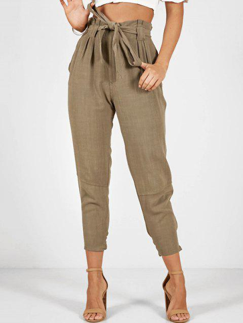 Belted Tie Hem Pocket Pants - CAMEL BROWN M